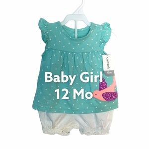 Carter's 12 Mo Spring Top Shorts Outfit Romper NWT